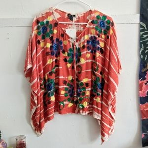 Beach by Exist Red Embroidered Tie Dye Flowy Tunic